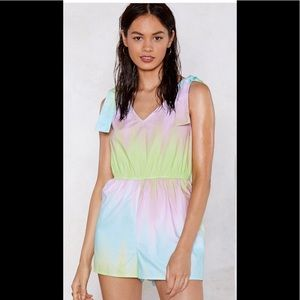 Nasty gal tie-dye romper sz 6 new with tags